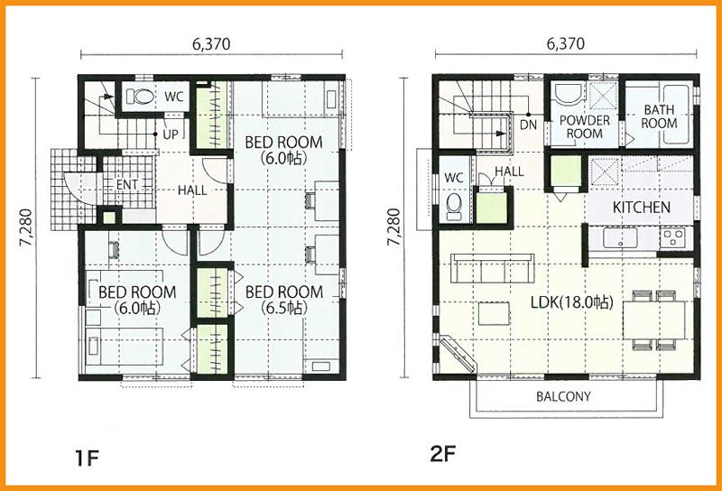 28坪 3LDKの2階建てのお家 2階に...